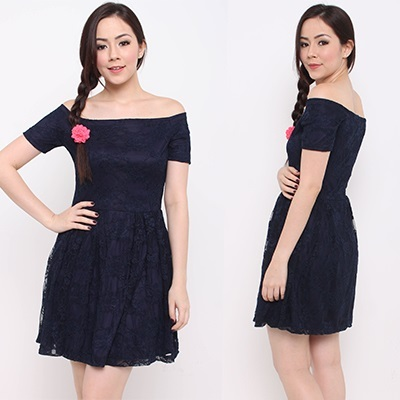 CORSETTE IN NAVY LACE IN-HOUSE FIT AND FLARE WORK DRESS