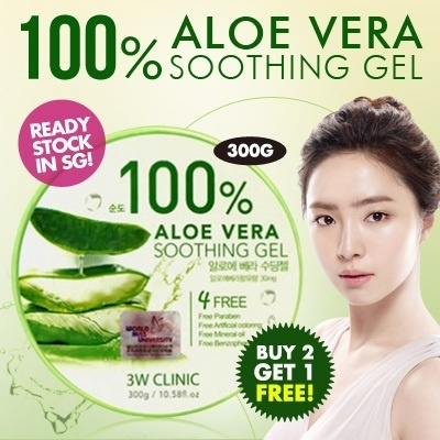 [3W Clinic]**Buy 2 Free 1** 100% Aloe Vera Soothing Gel 300g import from Korea (100% Authentic) READY STOCK IN SG