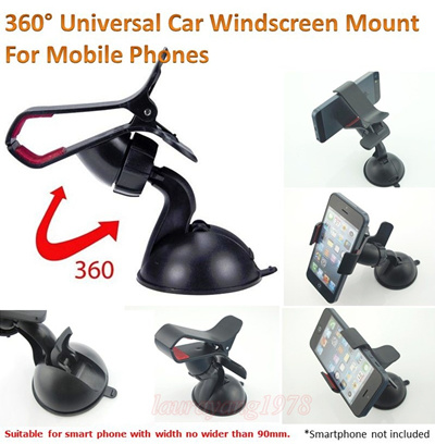 CAR SUCTION WINDSCREEN MOUNT HOLDER 360 DEGREE ROTATE fr IPHONE 5 5C 5S 4 4S SAMSUNG S3 S4 NOTE 2 3
