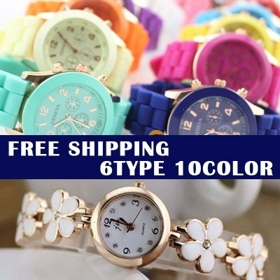 2014 New Design Silicone Wrist Watch 6type Geneva Quartz  Watches Jelly Watch for gift best price