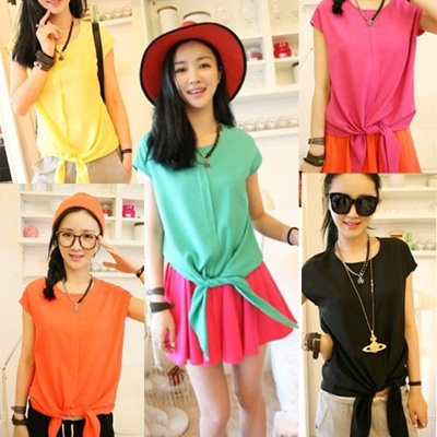 NEW Womens Ladies Asymmetric Career Casual Sleeve Shirt Tops Blouse Candy Color CLK1851