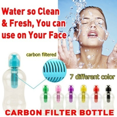 400ml Sports Water Bottle with Reusable Carbon Filter - BPA FREE