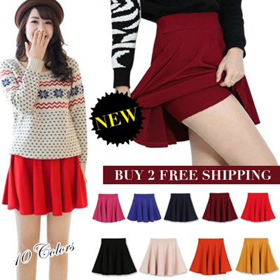 [BUY 2 FREE SHIPPING]2014 Colorful Skater Skirt/Pleated Skirt/Candy color/Short Skirt/Culottes pants/skirt with shorts