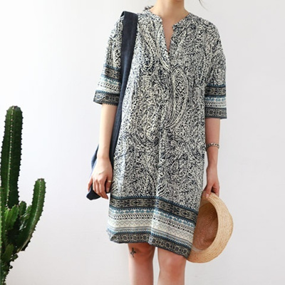 ★Ethnic Loose Fit Dress★High Quality Hot Trend Travel item Pattern Ops Korean Women Summer  New Style