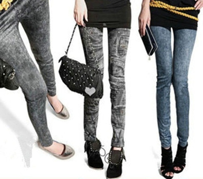【Free shipping】GOODSSTAR☆Female Korean LEGGINGS/Snowflakes DENIM Leggings/Jeans Leggings/Was thin #5387