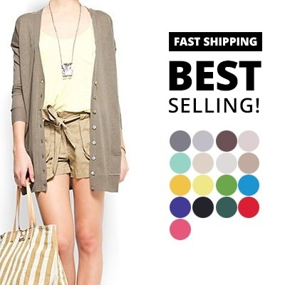 #1 Best-Selling Fast shipping Europe Style Basic Long cardigan with pocket comes in 14 colours  Free Size LCP