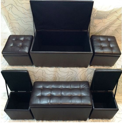 Pre-Order Promotion ! Quality Leather Sofa Storage Box Ottoman Seat / Bench / Stool / Cushion Chair / Storage Cabinet with Warranty