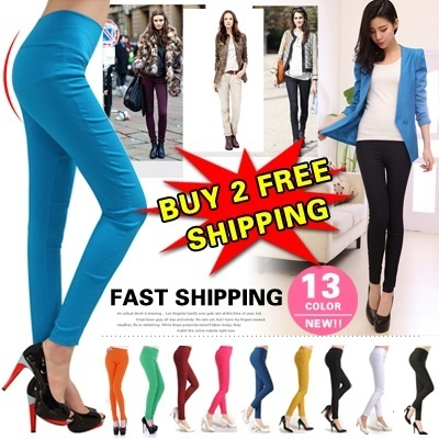 2014 Spring New![buy 2 free shipping] 13 Color women's Skinny Pants Leggings/ basic leggings/ stretchy long jeans/Fashion Candy-color Bottoms