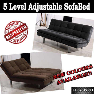 LORENZO FABRIC SOFABED WITH ADJUSTABLE HEADREST AND BACKREST