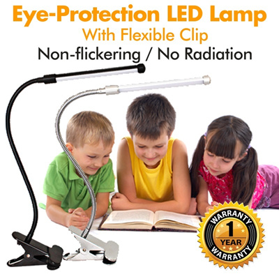 Eye-Protection LED Lamp★Eye Care Lamp★Silver★With Flexible Clip★Super Bright LED Light★One Year Warranty