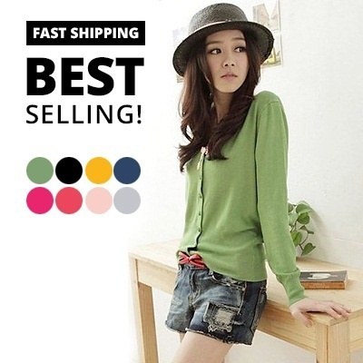 Super deal - free shipping - High quality basic cardigan /sweater comes in 8 colours