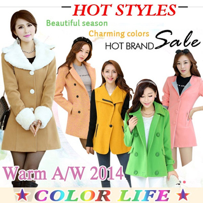 2014 NEW COLLECTION Overcoat【Oct 7 Update】【Super value】★ Dust coat ★ Women Coat ★ Fur Jacket ★ Spring Autumn Winter Jacket ★ Outerwear ★ Short coat ★ Pure color coat