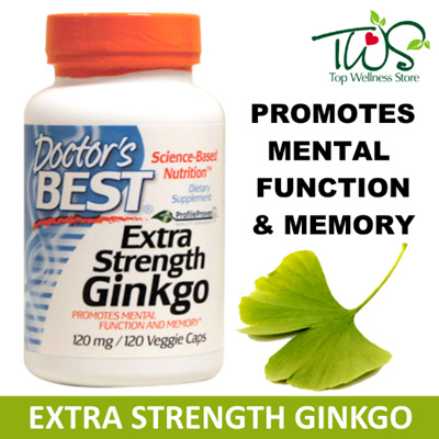 [Doctors Best] Extra Strength Ginkgo 120mg / 120 Veggie Caps / Promotes Mental Function and Memory