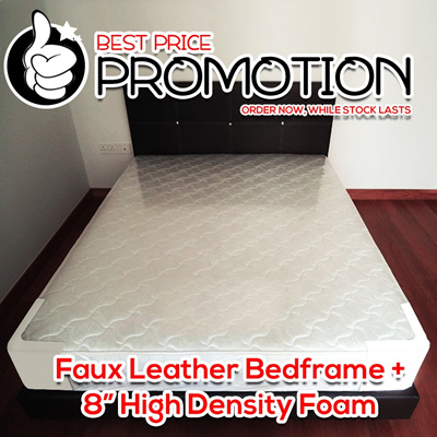 PROMOTION FAUX LEATHER BEDFRAME + 8 INCH HIGH DENSITY FOAM MATTRESS ORDER NOW WHILE STOCK LASTS!