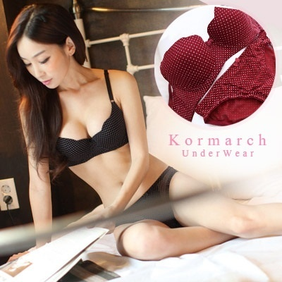 to compact remains of the dot pattern bra and panties set] beautiful silhouette. Bra and panties so cute