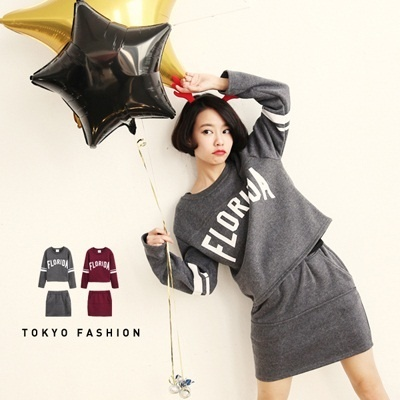 Tokyo Fashion - Letter Print Brushed Cotton Top And Mini Skirt 2-Piece Set-3026492