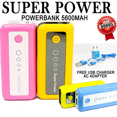 BEST SELLER  SUPERPOWER 5600MaH FREE USB CHARGER AC ADAPTER