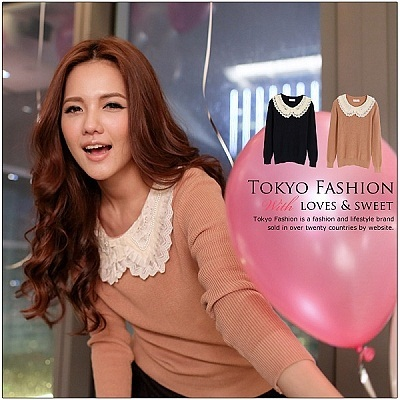 MAYUKI - Knit Sweater With Lace and Pearl Collar-2037056