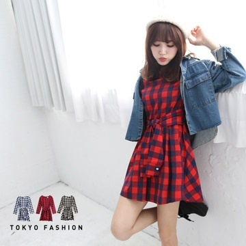 Tokyo Fashion - Plaid Tie-Waist Cotton Dress-3021744