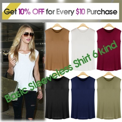 [Free-Shipping Basic sleeveless T-shirt] Excellent elasticity / recommended to a simple inner-wear / women fashion women clothing winter