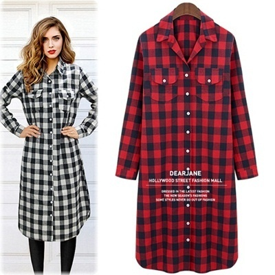 Check long shirt-dress / whole pattern dress / long dress / figure cover / cotton 100%