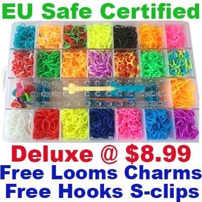 ★Loom Kit Deluxe / Metal Hook / Rubber Bands Refills / Charms / Rainbow Guide★