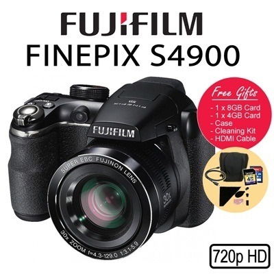 [Fujifilm] Fujifilm FinePix S4900 with *Fujifilm 1year Warranty *FREEBIE Time Sales: Cleaning Kit and 4GB Card x1pc(worth $29)