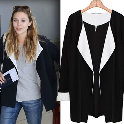 ★3Color Today Sale★ Korean No.1 HOT! Clothing Shop - 2014 Autumn New Arrival Europe Medium-Length Jacket/Plus-Size Tummy-Hiding Coat/Classy Western Jacket/Korean Ladies Blazer Cardigan Jacket