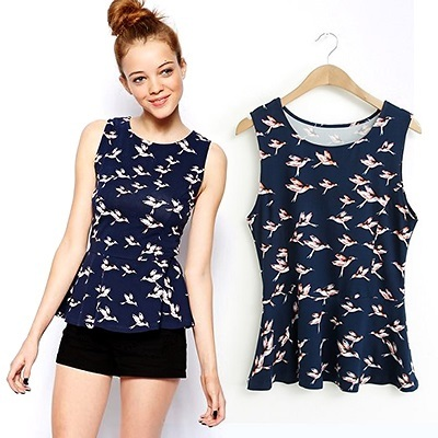 Sleeveless bird print flounced top/blouse with free belt #12706
