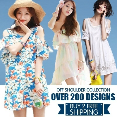 (New Arrivals)Korean Style Womens Off-Shoulder Dress Blouse Floar Sleeve Loose Fit Dress
