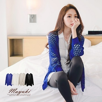 MAYUKI - Crochet Cardigan With Batwing Sleeves-3012821