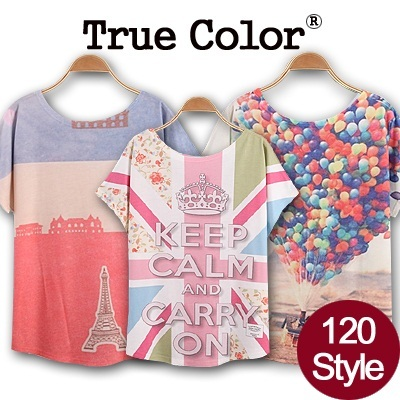 Design By Korea True Color Short sleeved T-shirt Unique printing High quality cotton Women T-shirt