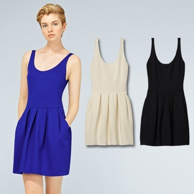 Sleeveless U neck dress -Z9541