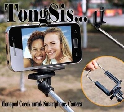 Monopod tongsis plus bracket holder for smartphone.