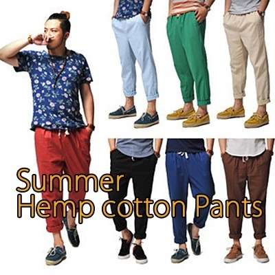 2013 Summer Pants/ High Quality 8colors cotton hemp pants /  roll-up pants