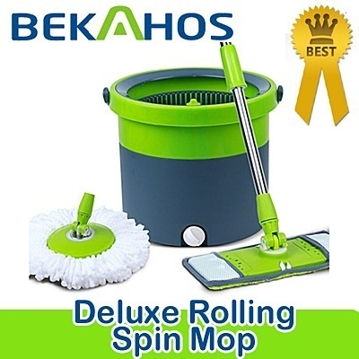 2014 New Magic Spin Mop Bucket New Design for Use Wet or Dry Deluxe Rolling Spin Mop two types Flat and round 360 Genuine Warranty/steam mop
