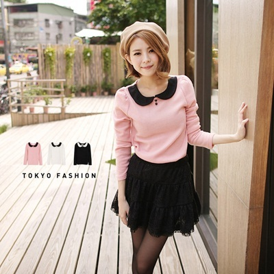 Tokyo Fashion - Wool Top With Peter Pan Collar-2032355