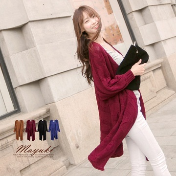 MAYUKI - Draped Neckline Cable Knit Long Cardigan-3019414
