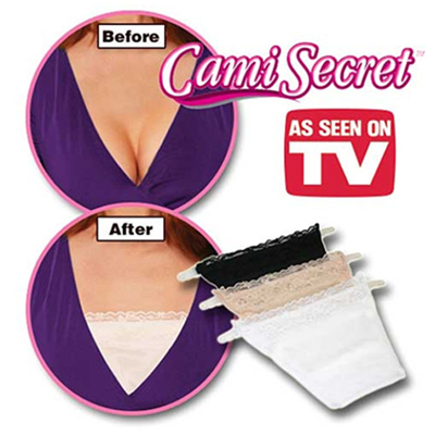 [Cami Secret] Clip On Mock Camisoles Set of 3 Modesty Panel(Black White Beige)