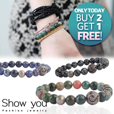 [SHOWYOU]8mm Gemstone Bracelet 88% OFF★KOREAN Couple Bracelet Genuine Kpopstar Gemstone Handmade Bracelet