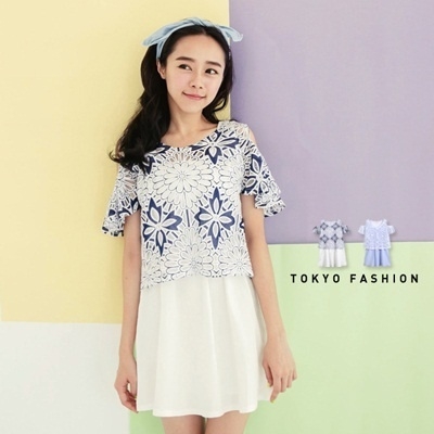 Tokyo Fashion - Bare-Shouldered Flower Top And Waisted Dress 2-Piece Set-4016021