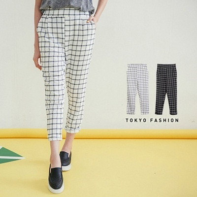 Tokyo Fashion - Check Stretch Fold-Over Harem Pants-4016035