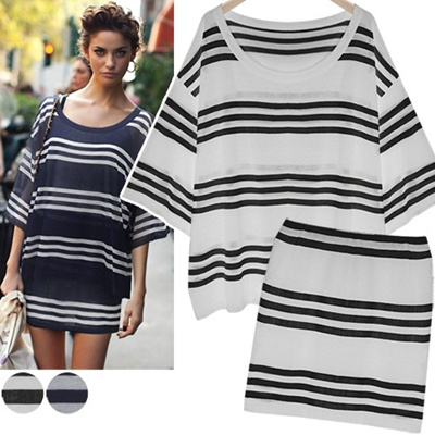 ★Free shipping★[SET]Stripe Knit Set_214906 women fashion women clothing