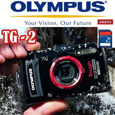 Olympus Camera Digital TG 2 12MP Bonus SDHC 8GB Black dan Red  The pinnacle of toughness The Stylus TG-2 is born!