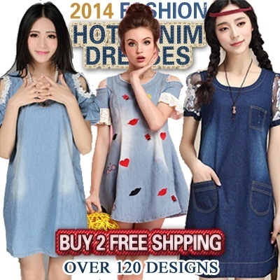 NEW ARRIVAL HOT 120 STYLES【High Quality】2014 Hot Sale Womens Fashion  Denim Dress【BUY 2 FREE SHIPPING】