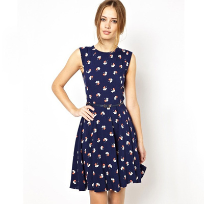 Limited time offer - Sleeveless floral dress with belt Item No. 11832