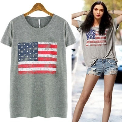 ★FREE SHIPPING★NATIONAL FLAG SLUB T-SHIRT-GO1004 women fashion