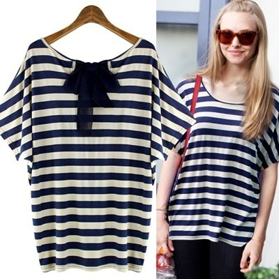 ★Free shipping★CHIFFON BACK RIBBON STRIPE LOOSE FIT BLOUSE-NT1016 women fashion