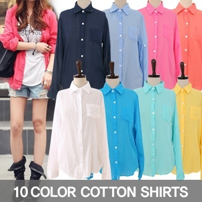 Color Cotton shirts/Free Shipping/Korean Fashion Tops Blouses Dresses/design by korea/t-shirts/high quality/linen shirts