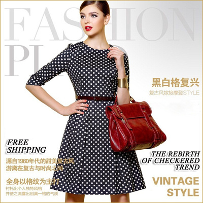 High Quality Premium Europe Style Checkered Dress Work Dress OL Dress Skater Dress A line Dress
